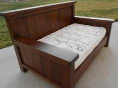furniture white pattern daybed mattress with brown varnished wooden frame on grey floor awesome building frame day bed