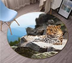 <b>3D</b> Stone <b>Tiger</b> 044 Animal <b>Round</b> Non Slip Rug Mat | AJ Wallpaper