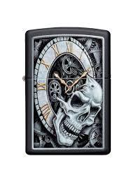 <b>Зажигалка Skull Clock</b> с покрытием Black Matte <b>Zippo</b> 8632869 в ...
