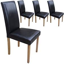 faux leather dining chair black: set of  faux leather dining chairs black with padded seat amp oak finish legs