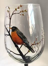 <b>Spring</b> Robin Hand <b>Painted Bird</b> Wine <b>Glass</b> by LKCustomCreations ...