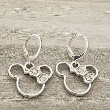 Darling silver white gold plated Minnie Mouse shape <b>crystal bow</b> ...