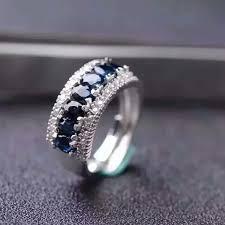 <b>shilovem 925 silver sterling</b> natural Natural sapphire Ring fine ...