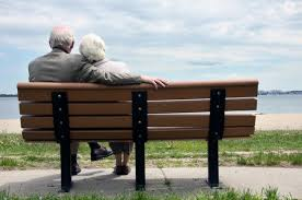 Image result for caricature of two old people sitting on a bench