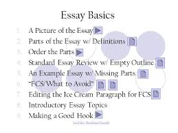 The Parts of an Essay A Review Essay Basics   A Picture of the     SlidePlayer Essay Basics   A Picture of the Essay   Parts of the Essay w
