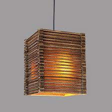 110v or 220v country pendant light fixtures with wood material rectangular lamp shade downchina bamboo lighting fixtures