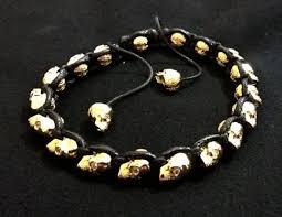 18K Gold & Leather <b>Braided Skull</b> Bracelet-S - J.W. COOPER