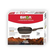 Купить <b>Сковорода</b>-<b>гриль Биол Гранит браун</b> 28 см. со съемной ...
