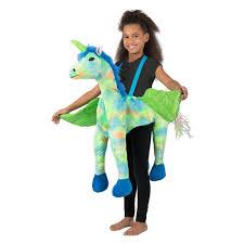<b>Girls Rainbow Unicorn</b> Ride In Halloween <b>Costume</b> Multi Colored