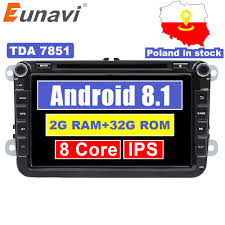 <b>Eunavi 2 Din 8</b>'' Octa core Android 8.1 car dvd for VW Polo Jetta ...