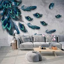 Custom <b>Mural</b> Wallpaper Fashion <b>Colorful Hand Painted</b> Feathers ...