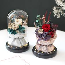 <b>Eternal Flower Finished</b> Glass Cover Rose Bouquet Gift <b>Box</b> ...