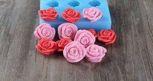6-Cavity <b>3D Rose Flower Soap</b> Mold Flexible Silicone Mold Candy ...