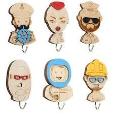 Nordic <b>Cartoon</b> Clothes <b>Hooks</b> Wall Sticker Hanger Wooden Craft ...