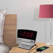 Westclox <b>USB Charging LED</b> Alarm Clock-71014X - The Home Depot
