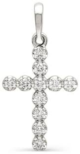 АЛЬКОР <b>Крестик с бриллиантами</b> из белого золота 3296-200 ...