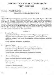 psychology paper syllabus of ugc net psychology paper studychacha