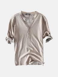 Mens <b>Casual</b> 100% <b>Cotton</b> Breathable Solid Color Half Sleeve ...