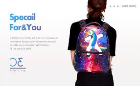 Unisex PU Leather Backpack Rainbow Blue Unicorn Horn Print ...