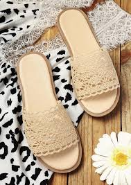 Купить Slippers Lace Hollow Out Round Toe Flat Slippers - Light ...