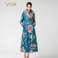 <b>VOA</b> 2017 Winter Fox Fur Collar Print Long Coat Women <b>Silk</b> ...