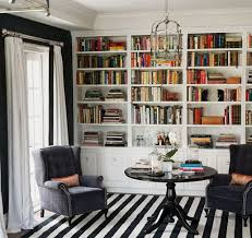 stripe type 2 a library reading area in a home features built in book shelves gray velvet upholstered wing back chairs and a black and white rug to black white home office cococozy 5
