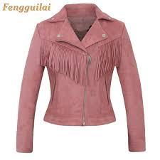 2019 <b>New Elegant Autumn Winter</b> Zipper Basic Suede Tassel Jacket ...