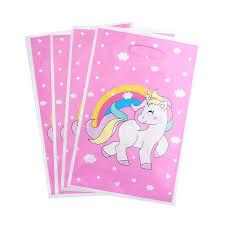 <b>10pcs Unicorn</b> Plastic Gift Bags Loot bag Pink Candy Bag for ...