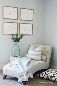 craft room makeover with benjamin moore healing aloe walls neutral furniture crystal flushmount chandelier bedroom lounge furniture