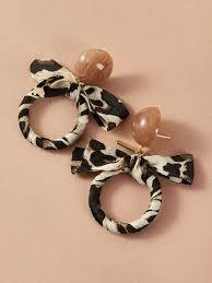 <b>Круглые</b> леопардовые серьги-<b>подвески с бантом</b> 1 пара | SHEIN