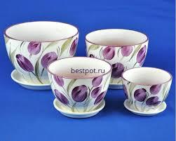 <b>Горшки</b> для цветов с поддоном <b>керамические</b> в наборе <b>Венеция</b> ...