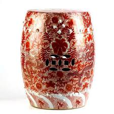 patio stool: scarlet red famille rose hand paint chinese dragon pattern ceramic patio stool