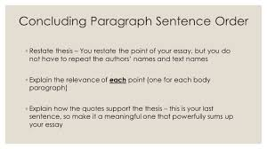 sentence order requirements for paragraphs essays not written 7 concluding