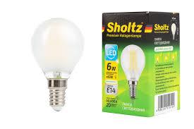 <b>Лампа светодиодная</b> филаментная <b>шар</b> матовая <b>SHOLTZ</b> 6Вт ...
