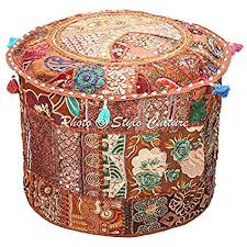 Stylo Culture Indian <b>Patchwork Pouf Ottoman</b> Cover <b>Round</b> ...