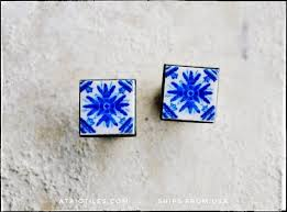 STUD Earrings Portugal Tile Atrio Azulejo Porto Blue SoLID ...