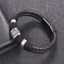 Jiayiqi Braid <b>Genuine Leather Bracelet</b> Titanium Stainless Steel ...