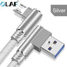 <b>OLAF</b> Micro USB Cable <b>2.4A</b> Fast <b>Charging</b> 90 Degree Elbow USB ...