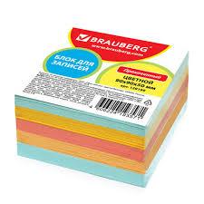 <b>Блок для записей BRAUBERG</b> проклеенный, 9×9×5 см, цветной ...
