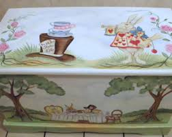 custom personalized tea party toy box inspired by alice in wonderland wooden toy chest kids furniture alice in wonderland inspired furniture