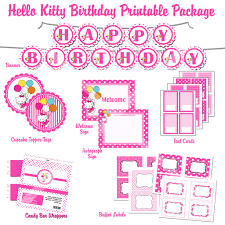 hello kitty hybrid printable birthday party package hot pink hello kitty hybrid printable birthday package pink ballons
