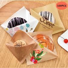 Buy 100 Pcs Sandwich Packing Bags <b>Set Triangle</b> Shaped Kraft ...