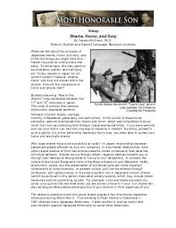 dutyby magazines essay shame honor and duty   pbs