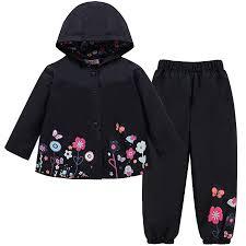 LZH Baby Girls <b>Raincoat Suit Waterproof</b> Hooded <b>Coat Jacket</b> ...