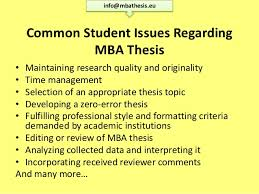 Common Student Issues Regarding MBA Thesis     SlideShare