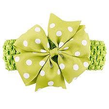 Bellazaara Baby Girl Green Polka <b>Dot</b> Bowknot on Wide <b>Crochet</b> ...