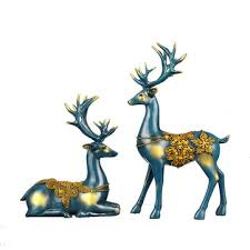nordic style <b>resin</b> elk figurines furnishing articles <b>originality</b> family ...