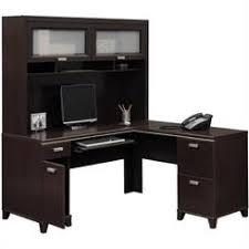 bush tuxedo l shape wood computer desk set with hutch in mocha cherry besi office computer desk