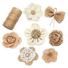 9 <b>PCS</b> Laribbons Natural Burlap Flowers Set, Include <b>8 PCS</b> ...