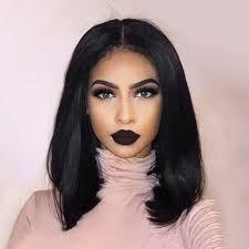 <b>Medium Center Parting</b> Straight Bob <b>Synthetic</b> Lace Front Wig ...